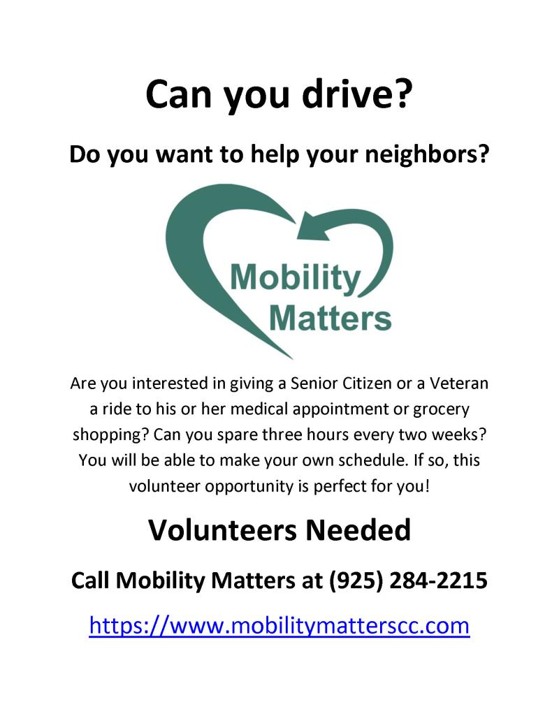Mobility Matters Volunteer Drivers Wanted!